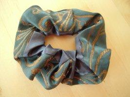 Ribbon gold-colored-dark green mixture fibre