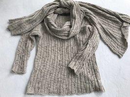 Zucchero Grobstrick- Long-Pullover mit Riesen Schal/Stola