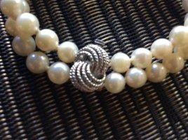 Zuchtperlen Perlenarmband  Silber 835 Schleife Knoten Vintage zweireihig Armband Perlen echt ❤️