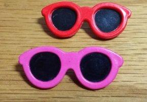 zwei Sonnenbrillen Broschen 80er