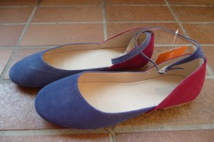 Strappy Ballerinas raspberry-red-blue suede
