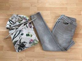 Cecil Jeans cigarette argenté-vert forêt coton