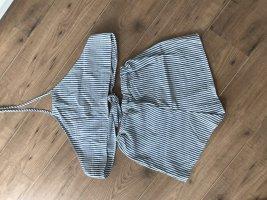 Zweiteiler/ Twinset Top und Shorts gestreift grau/ weiß Gr. 34 Zaful