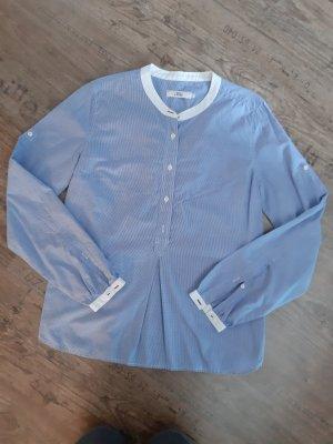 0039 Italy Blusa con collo alla coreana bianco-blu fiordaliso