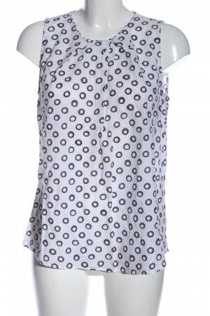 0039 Italy ärmellose Bluse weiß-schwarz abstraktes Muster Casual-Look
