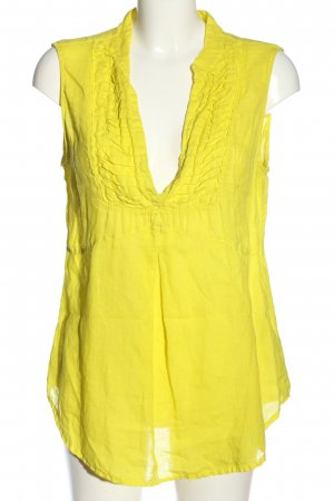 0039 Italy ärmellose Bluse blassgelb Casual-Look