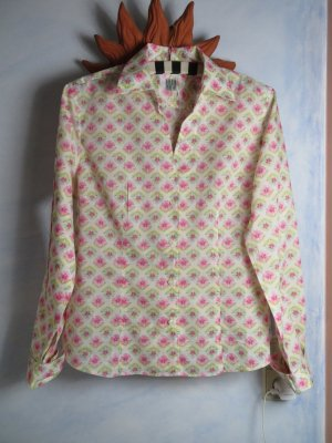 0039 Italy Batist Bluse Weiß Rosa Floral Muster - Gr. M - Cosy Baumwolle Hemd