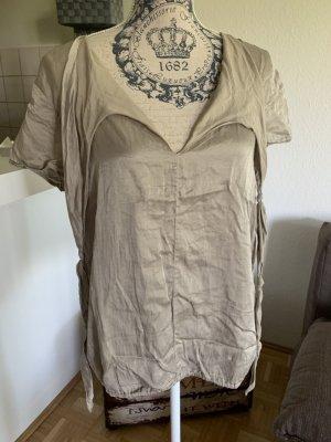 0039 Italy Bluse/Schluppen-Shirt - Beige/Glanz - Größe M 36/38! Neuwertig