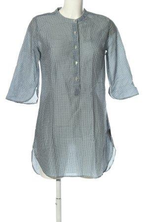 0039 Italy Blusenkleid weiß-grün Allover-Druck Business-Look
