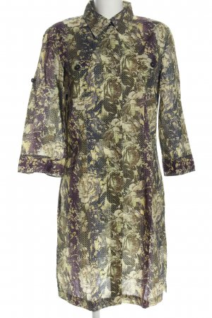 0039 Italy Blusenkleid hellgrau-khaki Blumenmuster Casual-Look