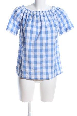 0039 Italy Camicetta alla carmen blu-bianco motivo a quadri stile casual