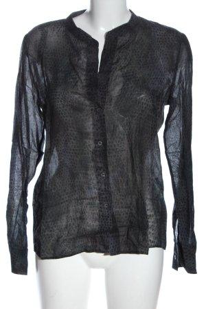0039 Italy Camicia blusa nero-grigio chiaro stampa integrale stile casual