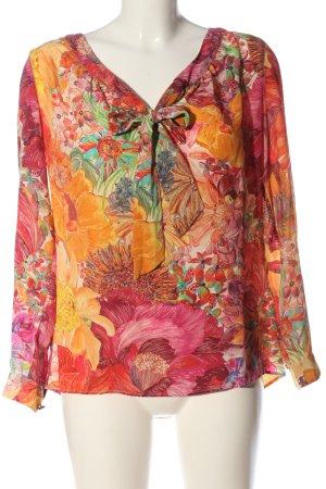0039 Italy Koszulowa bluzka czerwony-jasny pomarańczowy Wzór w kwiaty
