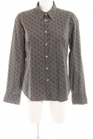 0039 Italy Hemd-Bluse braun-wollweiß abstraktes Muster Business-Look