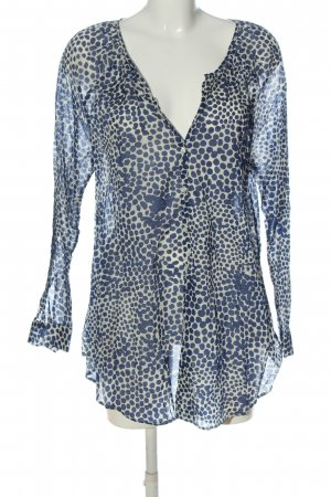 0039 Italy Shirt Blouse blue-natural white allover print casual look