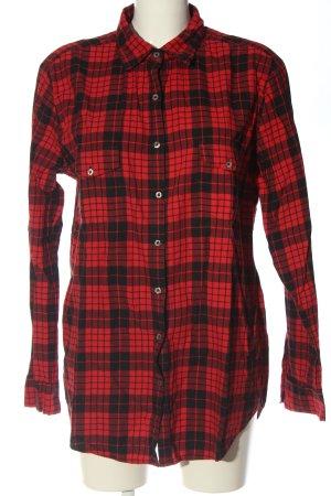 0039 Italy Koszula w kratę czerwony-czarny Wzór w kratkę W stylu casual