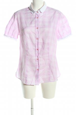 0039 Italy Kurzarm-Bluse pink-weiß Karomuster Casual-Look