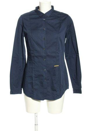 0039 Italy Langarm-Bluse blau Casual-Look