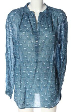 0039 Italy Langarm-Bluse blau-weiß abstraktes Muster Casual-Look