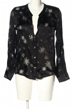 0039 Italy Langarm-Bluse schwarz abstraktes Muster Casual-Look