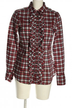 0039 Italy Langarm-Bluse rot-weiß Allover-Druck Casual-Look