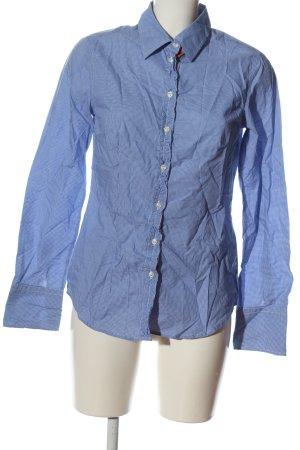 0039 Italy Langarmhemd blau-weiß Allover-Druck Business-Look