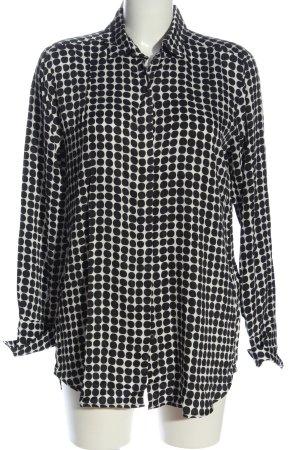 0039 Italy Langarmhemd weiß-schwarz Punktemuster Casual-Look