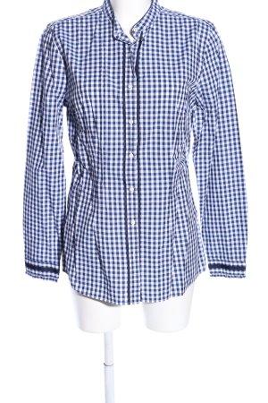0039 Italy Shirt met lange mouwen blauw-wit geruite print casual uitstraling