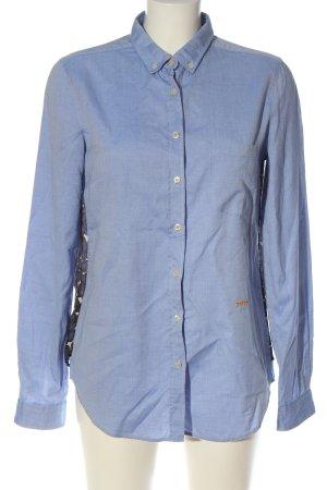 0039 Italy Camisa de manga larga azul-negro estampado con diseño abstracto