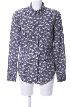 0039 Italy Langarmhemd blau-weiß Blumenmuster Business-Look