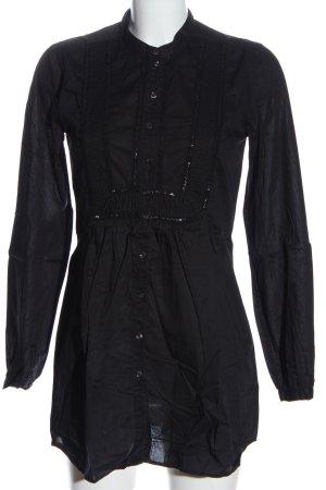 0039 Italy Chemise à manches longues noir élégant