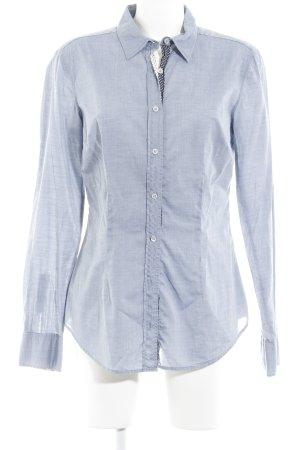 0039 Italy Langarmhemd graublau-hellbeige meliert Casual-Look