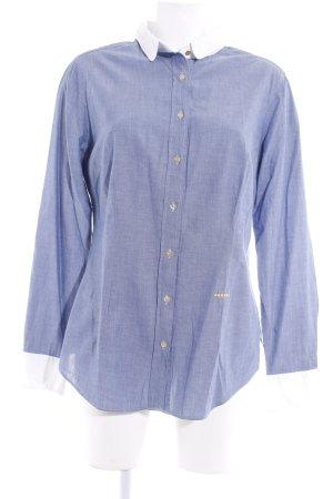 0039 Italy Langarmhemd wollweiß-kornblumenblau Business-Look
