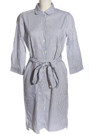 0039 Italy Vestido de manga larga blanco-azul estampado a rayas look casual