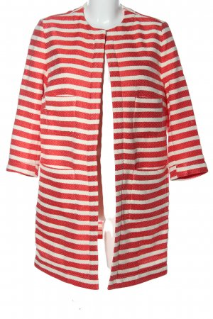 0039 Italy Lange Jacke rot-weiß Streifenmuster Casual-Look