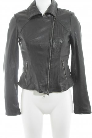 0039 Italy Veste en cuir noir Look de motard