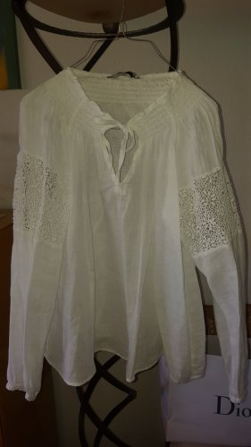 0039 Italy Leinen Bluse weiss Gr.36 (S)