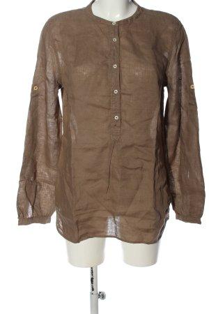 0039 Italy Blusa de lino marrón look casual