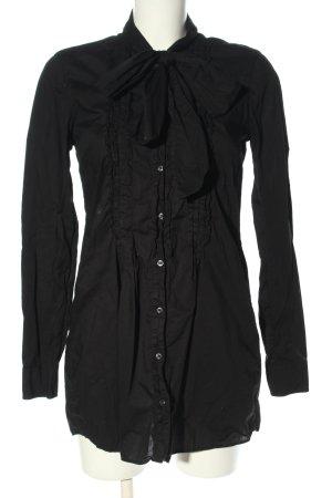 0039 Italy Długa bluzka czarny W stylu biznesowym