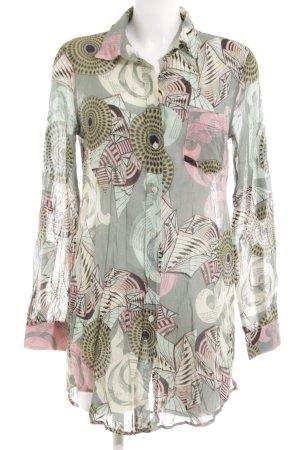 0039 Italy Long-Bluse abstraktes Muster Elegant