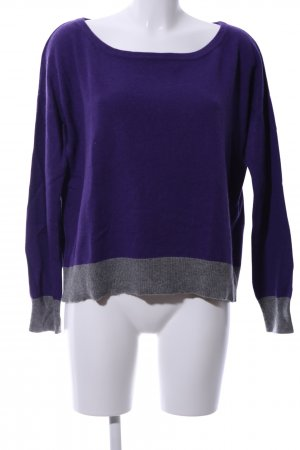 0039 Italy Oversized Pullover lila-hellgrau meliert Casual-Look