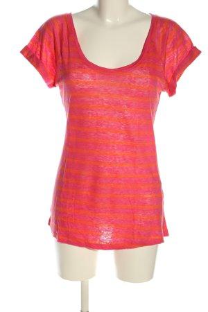 0039 Italy T-shirt rayé rouge-orange clair moucheté style décontracté
