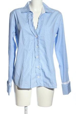0039 Italy Rüschen-Bluse blau Business-Look