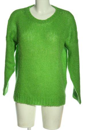 0039 Italy Pull tricoté vert torsades style décontracté