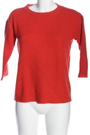 0039 Italy Sweter z okrągłym dekoltem czerwony W stylu casual