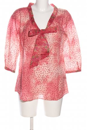 0039 Italy Schlupf-Bluse pink Allover-Druck Casual-Look