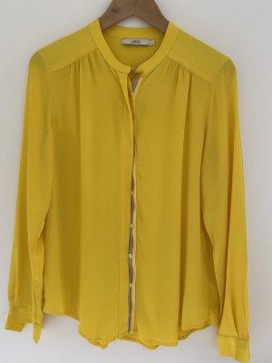 0039 Italy Jedwabna bluzka żółty-jasnoszary