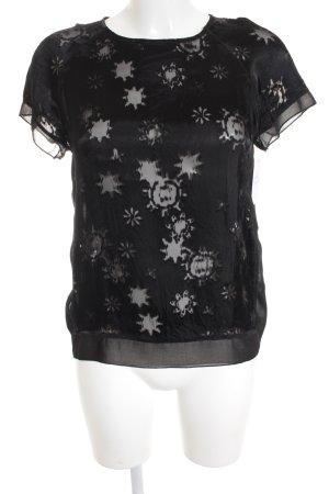 0039 Italy Jedwabna bluzka czarny Wzór w kwiaty W stylu biznesowym