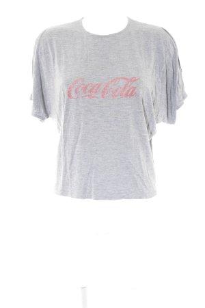0039 Italy T-Shirt grau-rot Schriftzug gedruckt Casual-Look