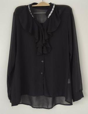 0039 Italy Transparante blouse zwart